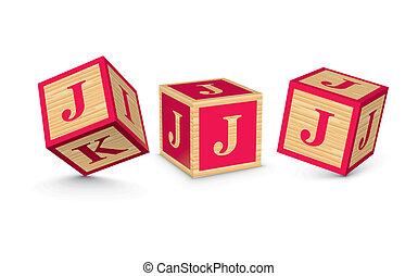 bois, vecteur, blocs, lettre, j