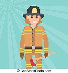 bois, vecteur, pompier, hache, uniforme