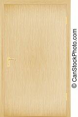 bois, vecteur, porte, fermé, illustration