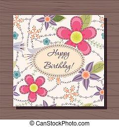 bois, vendange, anniversaire, fond, fleurs, carte