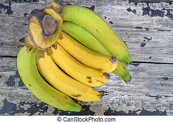bois, vendange, banch, bananes, table