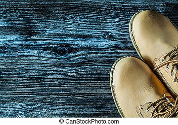 bois, vendange, bottes, sécurité, planche, paire