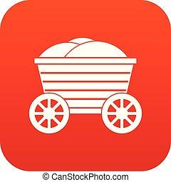 bois, vendange, charrette, numérique, rouges, icône