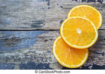 bois, vendange, coupé, fond, orange, table