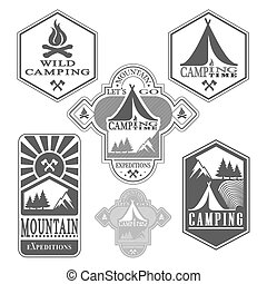 bois, vendange, ensemble, insignes, camp