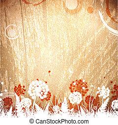 bois, vendange, floral, fond