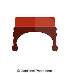 bois, vendange, illustration, ottoman, courbé, jambes, rouges