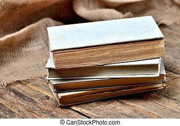 bois, vendange, librairie, pile, rustique, livres, table, vieux, antiquarian