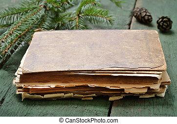 bois, vendange, livre, vieux, table