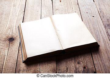 bois, vendange, livre, vieux, table.