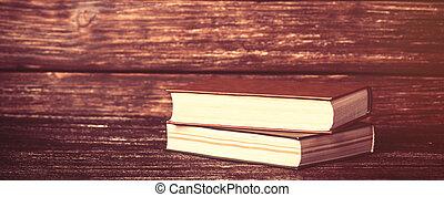 bois, vendange, livres, vieux, table