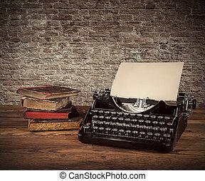 bois, vendange, machine écrire, table