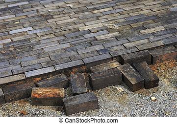 bois, vendange, rue, blocs
