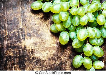 bois, vendange, sur, macro., bois, raisins, bureau, frais, blanc, table, tas