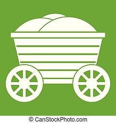 bois, vendange, vert, charrette, icône