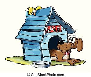 bois, vente, vecteur, maison, sien, dessin animé, chien, illustration, bleu