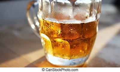 bois, verre, bière, table