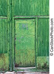 bois, vert, ancien, porte, panels.