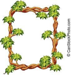 bois, vert, cadre, feuille, cartoo