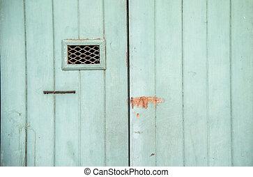 bois, vert, vieux, porte