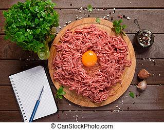 bois, viande hachée, bureau