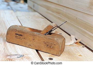bois, vieux façonné, avion