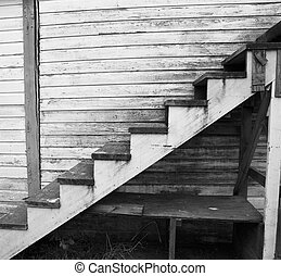 bois, vieux, porté, escalier