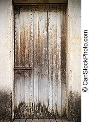 bois, vieux, porte, fermé