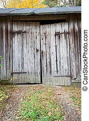 bois, vieux, porte, grange
