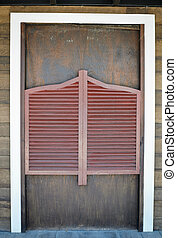 bois, vieux, porte, occidental, oscillation