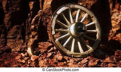 bois, vieux, roue, rochers, charrette, pierre