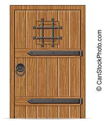 bois, vieux, vecteur, porte, illustration