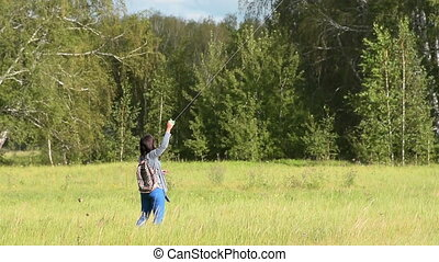 bois, voler, femme, cerf volant
