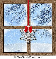 bois, vue fenêtre, hiver, dehors