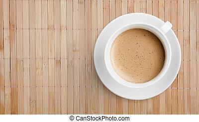 bois, vue, tasse, sommet table, café