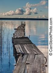 bois, walkways, sur, les, lac