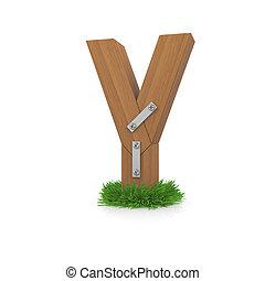 bois, y, herbe, lettre
