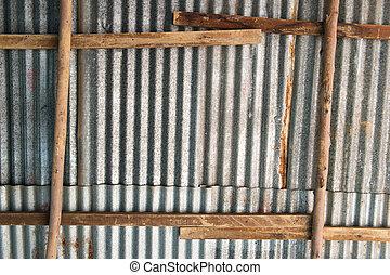 bois, zinc, cadre, toit, construction, fond