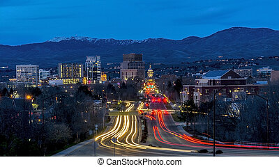 Boise Idaho night secene of Capital boulevard - View down...