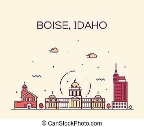 Boise Idaho skyline USA vector linear style city
