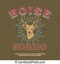 Boise, Idaho.  t-shirt graphic print. Vector illustration