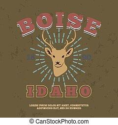 Boise, Idaho.  t-shirt graphic print. Vector illustration