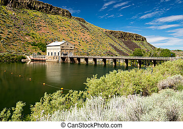 Historic diversion dam and shore brush on a river in Idaho