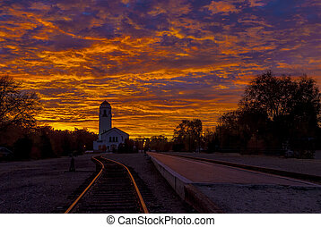 Boise Train Depot with a dramatic sunrise - Train Depot in...