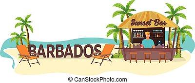 boisson, barbados., travel., tropical., chaise salon, paume, plage, été, bar.