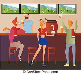 boisson, barman, restaurant., illustration., barre, alcool, tv-set., plat, football, -, ventilateurs, applaudissement, bière, vecteur, équipe, allumette, bar.
