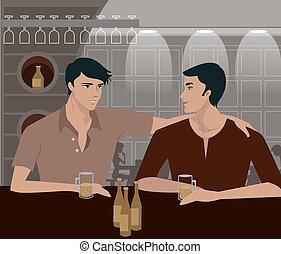 boisson, barre, deux hommes, avoir
