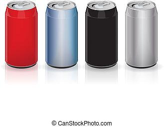 boisson, boîtes, aluminium
