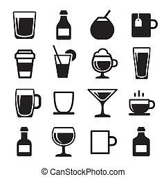 boisson, boisson, ensemble, icônes