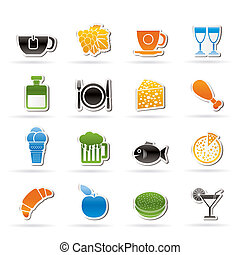 boisson, boisson, nourriture, icônes